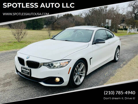 2014 BMW 4 Series for sale at SPOTLESS AUTO LLC in San Antonio TX