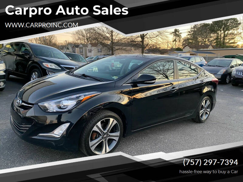 2014 Hyundai Elantra for sale at Carpro Auto Sales in Chesapeake VA