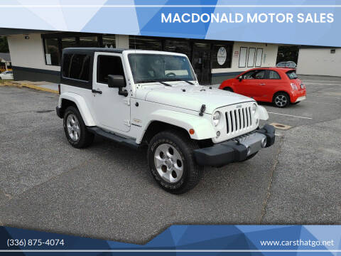 2015 Jeep Wrangler for sale at MacDonald Motor Sales in High Point NC
