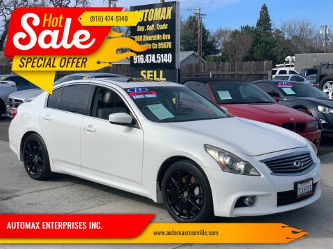 2013 Infiniti G37 Sedan for sale at AUTOMAX ENTERPRISES INC. in Roseville CA