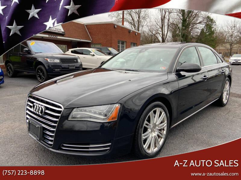 2013 Audi A8 L for sale at A-Z Auto Sales in Newport News VA