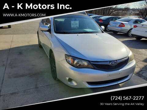 2008 Subaru Impreza for sale at A - K Motors Inc. in Vandergrift PA