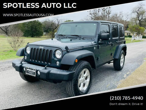2016 Jeep Wrangler Unlimited for sale at SPOTLESS AUTO LLC in San Antonio TX