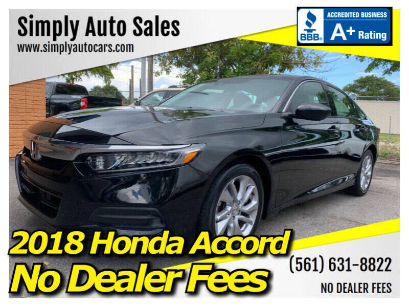2018 Honda Accord for sale at Simply Auto Sales in Palm Beach Gardens FL