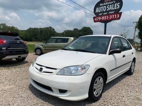 2004 Honda Civic for sale at McAllister's Auto Sales LLC in Van Buren AR