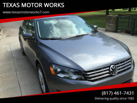 2013 Volkswagen Passat for sale at TEXAS MOTOR WORKS in Arlington TX