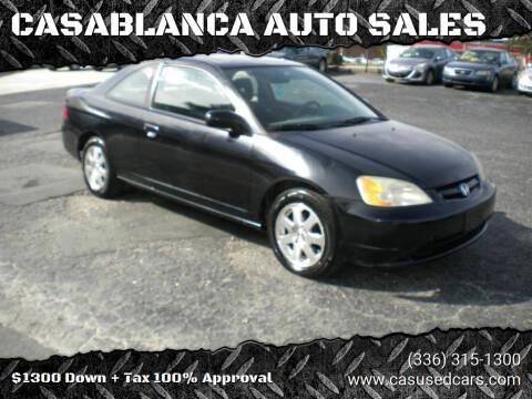2003 Honda Civic for sale at CASABLANCA AUTO SALES in Greensboro NC