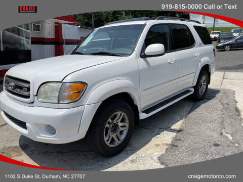 2004 Toyota Sequoia for sale at CRAIGE MOTOR CO in Durham NC