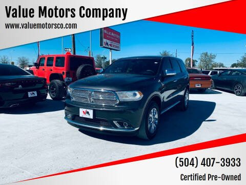 2016 Dodge Durango for sale at Value Motors Company in Marrero LA