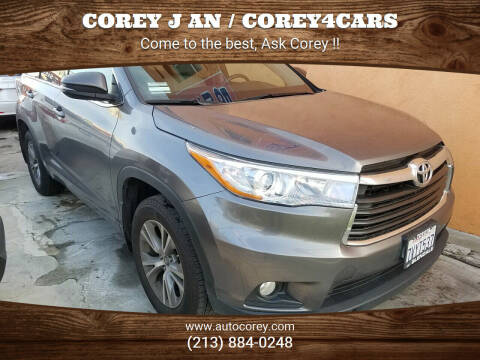 2016 Toyota Highlander for sale at WWW.COREY4CARS.COM / COREY J AN in Los Angeles CA