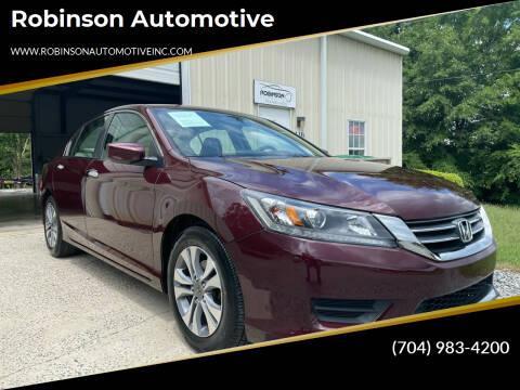 2015 Honda Accord for sale at Robinson Automotive in Albemarle NC