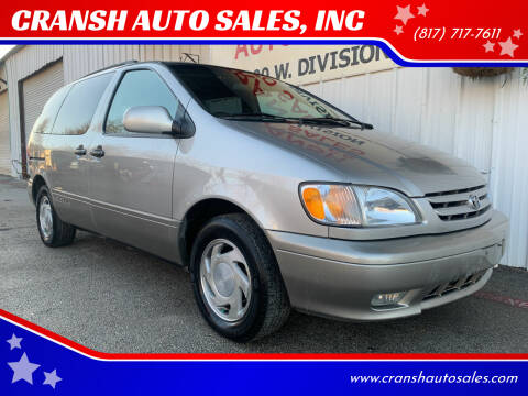 2001 Toyota Sienna for sale at CRANSH AUTO SALES, INC in Arlington TX