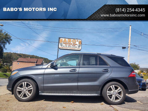 2012 Mercedes-Benz M-Class for sale at BABO'S MOTORS INC in Johnstown PA