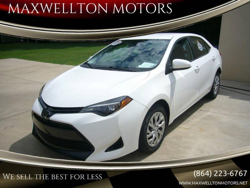 2017 Toyota Corolla for sale at MAXWELLTON MOTORS in Greenwood SC