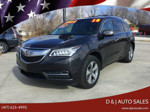 2014 Acura MDX for sale at D & J AUTO SALES in Joplin MO