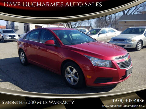 2014 Chevrolet Cruze for sale at Dave Ducharme's Auto Sales in Lowell MA