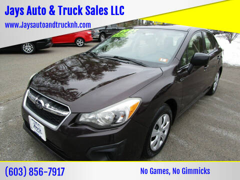 2013 Subaru Impreza for sale at Jays Auto & Truck Sales LLC in Loudon NH