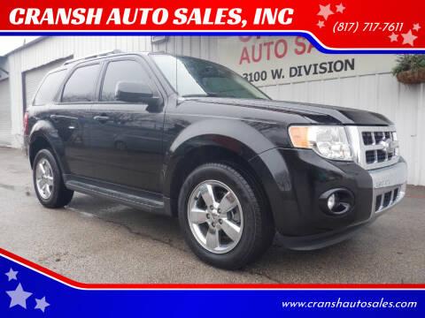 2011 Ford Escape for sale at CRANSH AUTO SALES, INC in Arlington TX