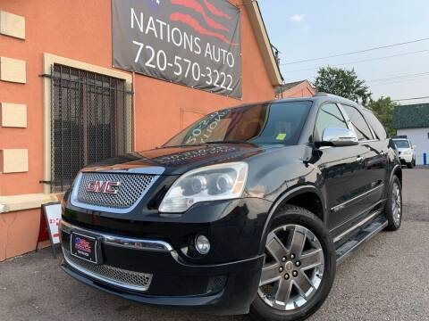 2012 GMC Acadia for sale at Nations Auto Inc. II in Denver CO