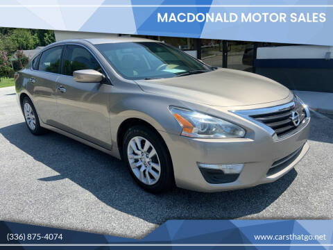 2015 Nissan Altima for sale at MacDonald Motor Sales in High Point NC