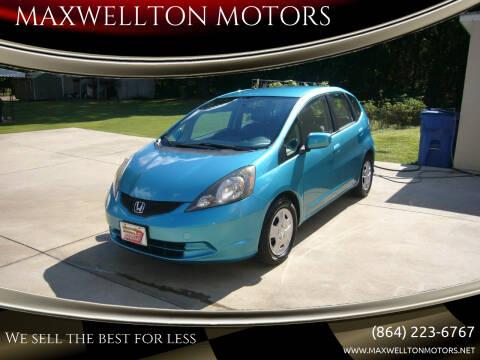 2013 Honda Fit for sale at MAXWELLTON MOTORS in Greenwood SC