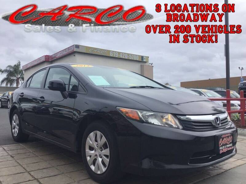 2012 Honda Civic for sale at CARCO SALES & FINANCE in Chula Vista CA