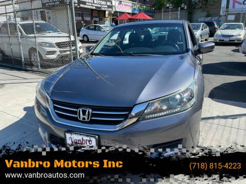 2013 Honda Accord for sale at Vanbro Motors Inc in Staten Island NY