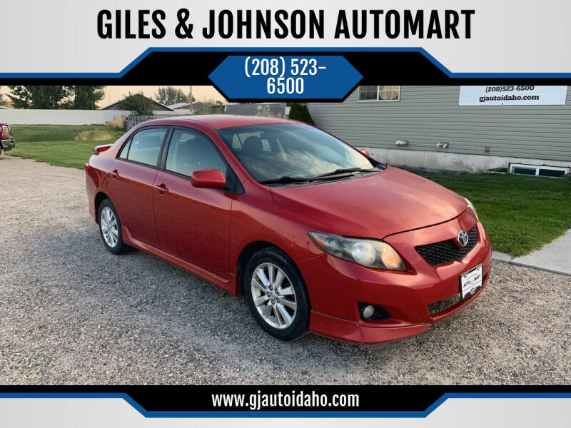2009 Toyota Corolla for sale at GILES & JOHNSON AUTOMART in Idaho Falls ID