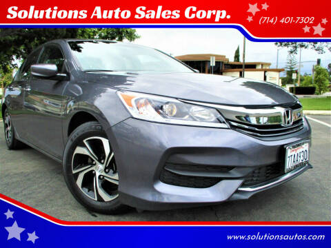 2016 Honda Accord for sale at Solutions Auto Sales Corp. in Orange CA