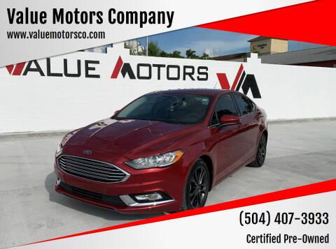 2018 Ford Fusion for sale at Value Motors Company in Marrero LA