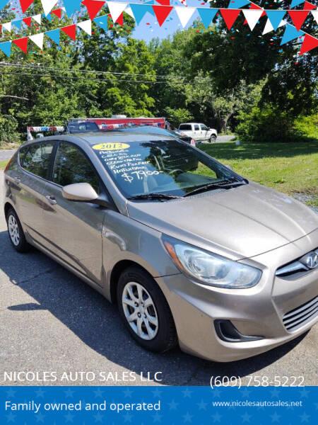 2012 Hyundai Accent for sale at NICOLES AUTO SALES LLC in Cream Ridge NJ