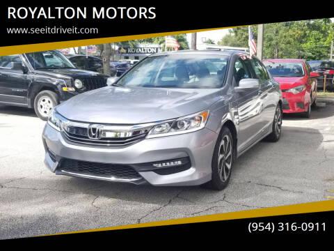 2017 Honda Accord for sale at ROYALTON MOTORS in Plantation FL