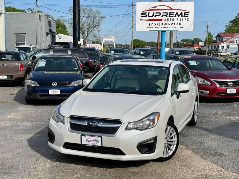 2012 Subaru Impreza for sale at Supreme Auto Sales in Chesapeake VA