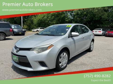 2015 Toyota Corolla for sale at Premier Auto Brokers in Virginia Beach VA