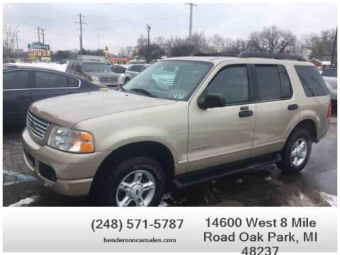 2005 Ford Explorer for sale at Henderson Automotive, LLC in Oak Park MI