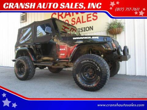 1997 Jeep Wrangler for sale at CRANSH AUTO SALES, INC in Arlington TX