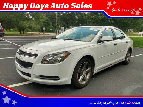 2012 Chevrolet Malibu for sale at Happy Days Auto Sales in Piedmont SC