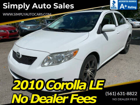 2010 Toyota Corolla for sale at Simply Auto Sales in Palm Beach Gardens FL