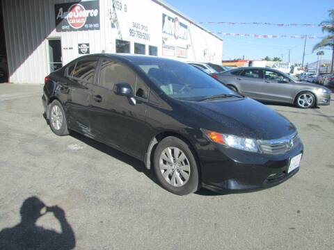 2012 Honda Civic for sale at Auto Source in Banning CA