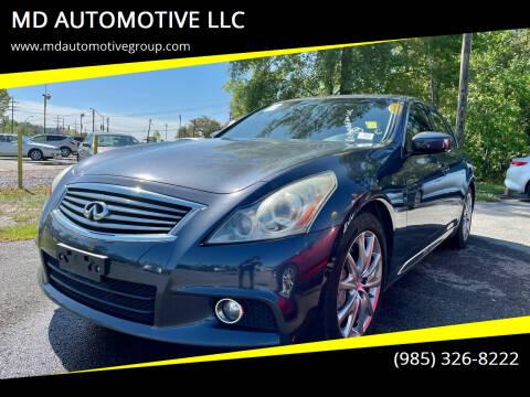 2013 Infiniti G37 Sedan for sale at MD AUTOMOTIVE LLC in Slidell LA