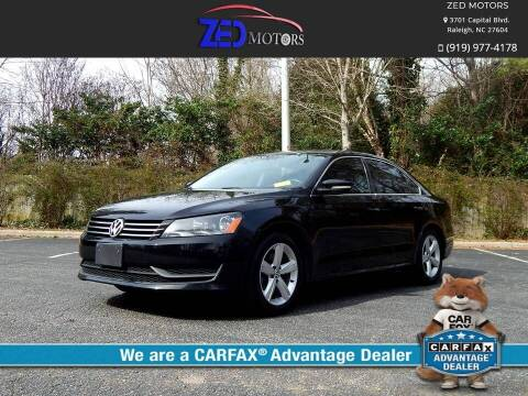 2013 Volkswagen Passat for sale at Zed Motors in Raleigh NC