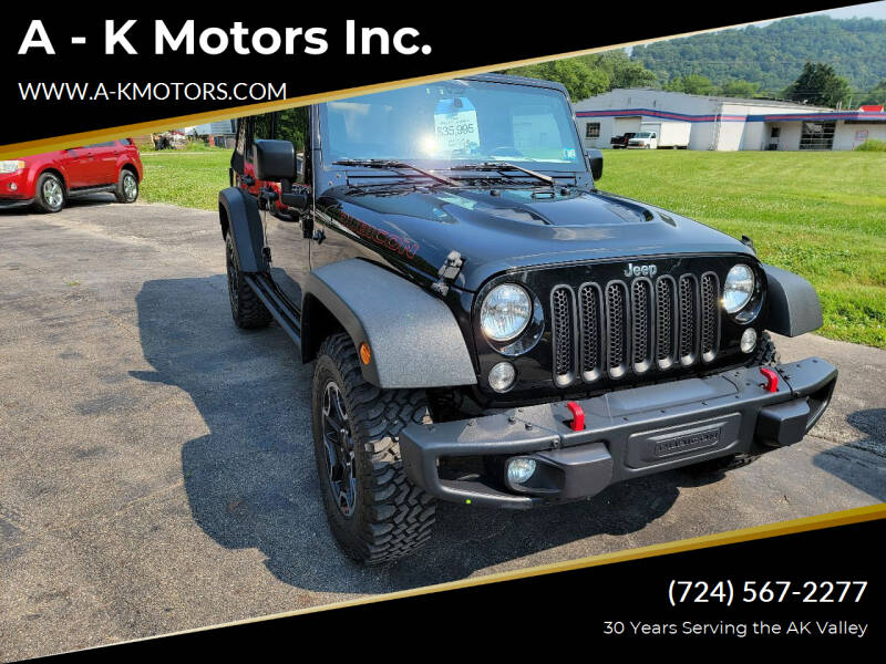 2015 Jeep Wrangler Unlimited for sale at A - K Motors Inc. in Vandergrift PA