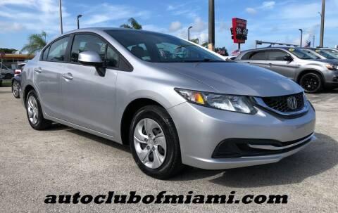 2013 Honda Civic for sale at AUTO CLUB OF MIAMI, INC in Miami FL