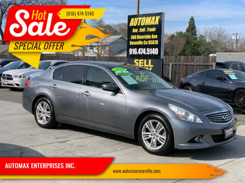 2010 Infiniti G37 Sedan for sale at AUTOMAX ENTERPRISES INC. in Roseville CA