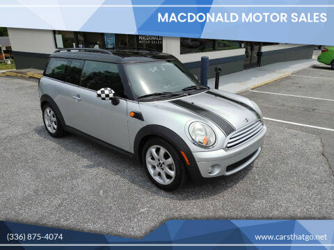 2009 MINI Cooper Clubman for sale at MacDonald Motor Sales in High Point NC