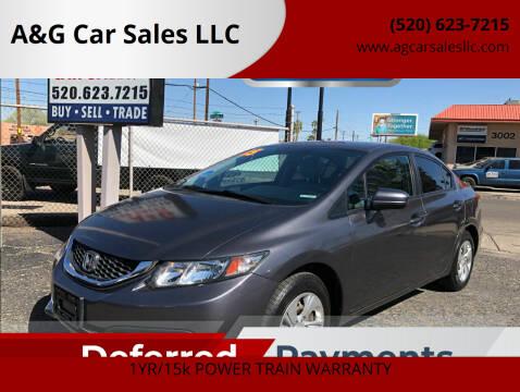 2015 Honda Civic for sale at A&G Car Sales  LLC in Tucson AZ