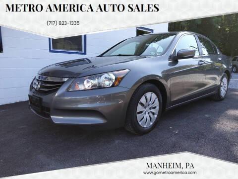 2012 Honda Accord for sale at METRO AMERICA AUTO SALES of Manheim in Manheim PA