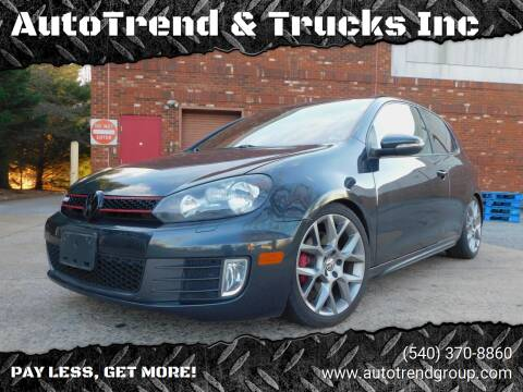 2013 Volkswagen GTI for sale at AutoTrend & Trucks Inc in Fredericksburg VA
