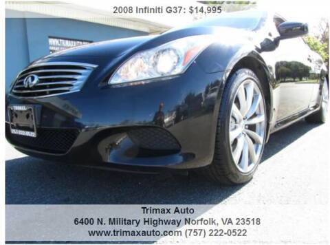 2008 Infiniti G37 for sale at Trimax Auto Group in Norfolk VA