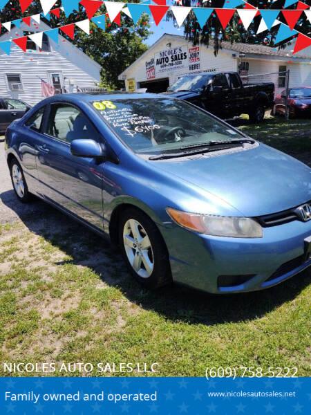 2008 Honda Civic for sale at NICOLES AUTO SALES LLC in Cream Ridge NJ